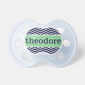 """""""Theodore"""" Personalized Name - Chevron Print Pacifiers"""