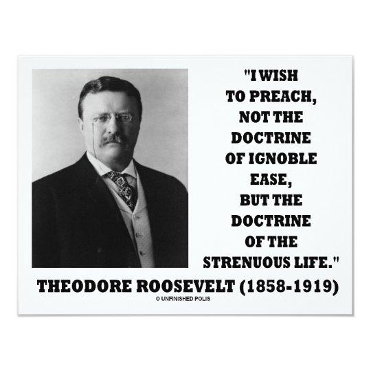 Theodore Roosevelt Doctrine Strenuous Life Card
