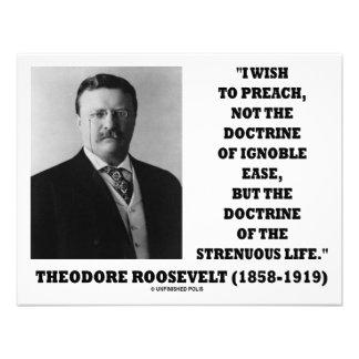 Theodore Roosevelt Doctrine Strenuous Life Personalised Invitations