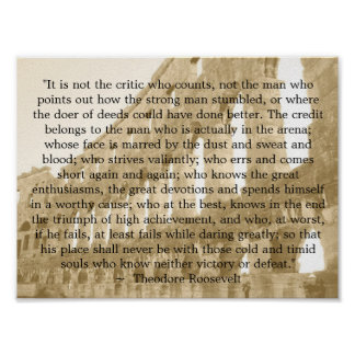 """Theodore Roosevelt """"The arena""""  """"It is not the..."""" Print"""
