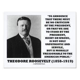 Theodore Roosevelt Treasonable American Public 11 Cm X 14 Cm Invitation Card