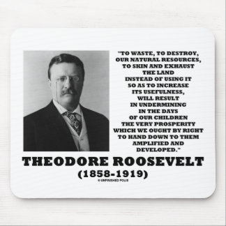 Theodore Roosevelt Waste Destroy Natural Resources Mouse Pad