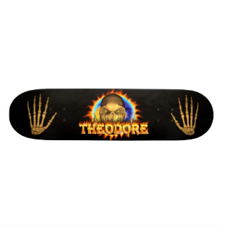 Theodore skull real fire and flames skateboard des