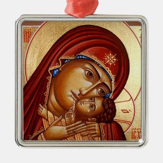 Theotokos Silver-Colored Square Decoration