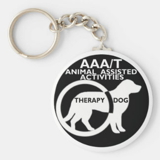 THERAPY DOG ANIMAL ASSISTED ACTIVITIES BASIC ROUND BUTTON KEY RING