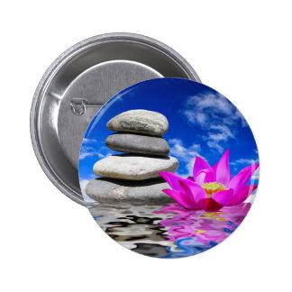 Therapy Rock Stones & Lotus Flower 6 Cm Round Badge