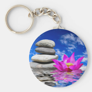 Therapy Rock Stones & Lotus Flower Basic Round Button Key Ring