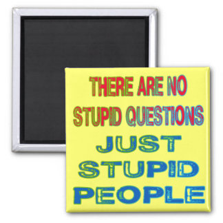 There Are No Stupid Questions Square Magnet