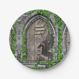 There be Dragons King Arthur Medieval Dragon Door Paper Plate