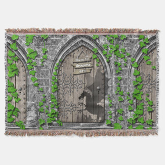 There be Dragons King Arthur Medieval Dragon Door Throw Blanket