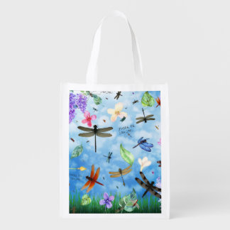 There Be Dragons Whimsical Dragonfly Design Reusable Grocery Bag