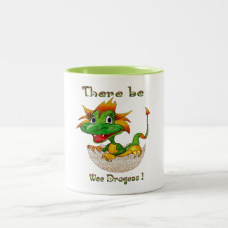 There Be Wee Dragons Two-Tone Coffee Mug