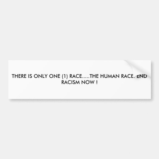THERE IS ONLY ONE (1) RACE.....THE HUMAN RACE. ... BUMPER STICKERS
