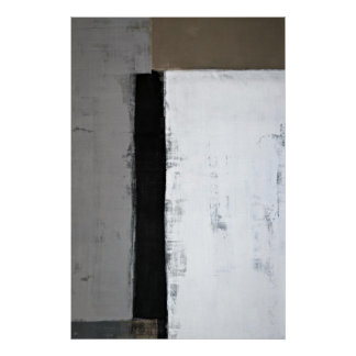 'There It Is' Grey and Brown Abstract Art Poster