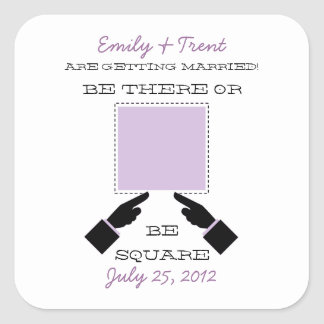 There or Square Save the Date Sticker, Lilac