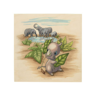 There's a New Rhino in Town Wood Wall Art Wood Prints