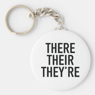 There Their They're Basic Round Button Key Ring