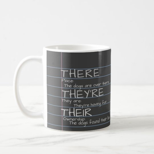 There, They're, Their -Grammar Nerd Chalkboard Mug