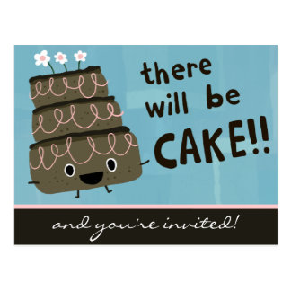 There Will Be Cake! Funny Party Invitation Postcard