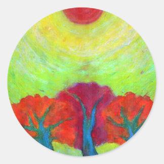 Theree Sun Round Sticker