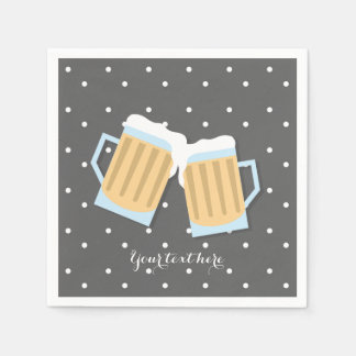 There's A Baby Brewing Beer Mugs Grey Shower Paper Napkins