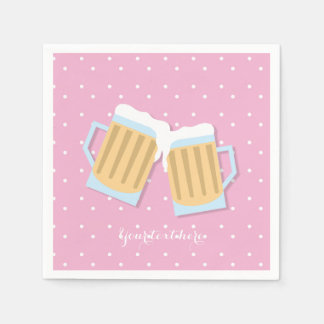 There's A Baby Brewing Beer Mugs Pink Shower Disposable Serviette