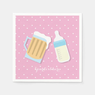 There's A Baby Brewing Beer Mugs Pink Shower Paper Napkin