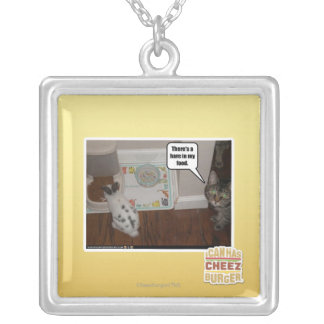 There's a hare in my food. silver plated necklace