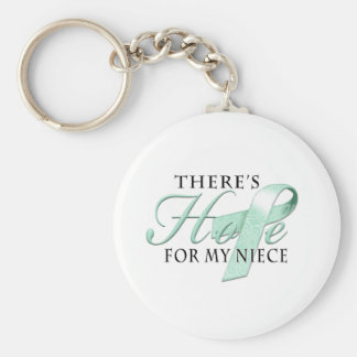There's Hope for Ovarian Cancer Niece Basic Round Button Key Ring