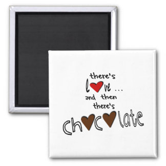 There's Love . . . And Then There's Chocolate Square Magnet