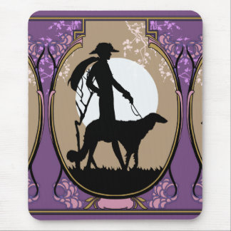 Theresa in Brown & Plum - Art Deco Lady with Dog Mouse Pad