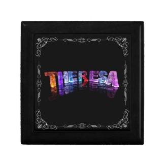 Theresa - The Name Theresa in 3D Lights (Photogra Keepsake Box