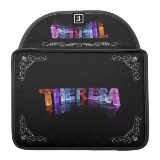 Theresa - The Name Theresa in 3D Lights (Photogra Sleeve For MacBooks