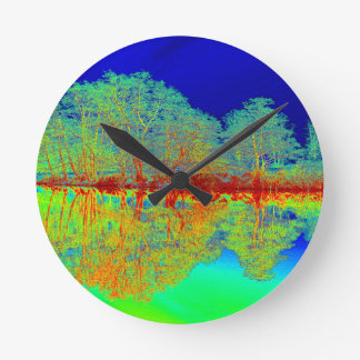 Thermal River Reflections Round Clock
