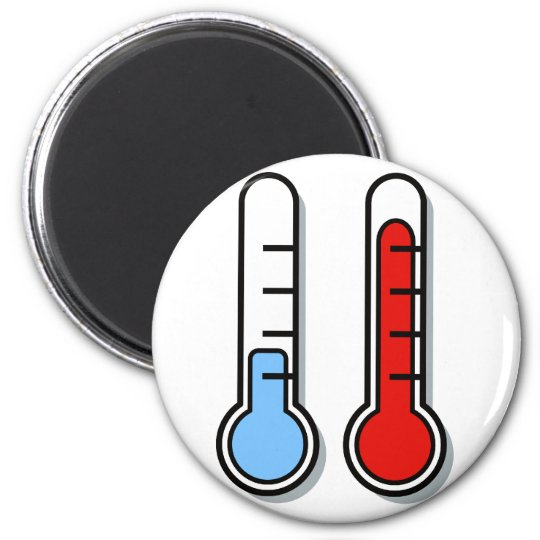 Thermometer cold hot coldly warmly 6 cm round magnet