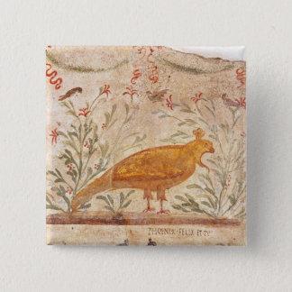 thermopolium  depicting phoenix and inscription 15 cm square badge
