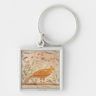 thermopolium  depicting phoenix and inscription Silver-Colored square key ring