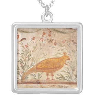 thermopolium  depicting phoenix and inscription square pendant necklace