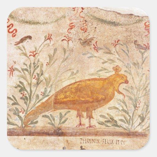 thermopolium  depicting phoenix and inscription square stickers