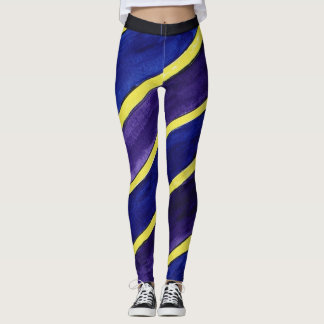 These are purple, blue, and yellow leggings. leggings