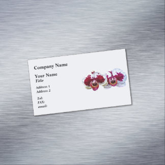 These maroon and white Phalaenopsis orchids with t Magnetic Business Cards