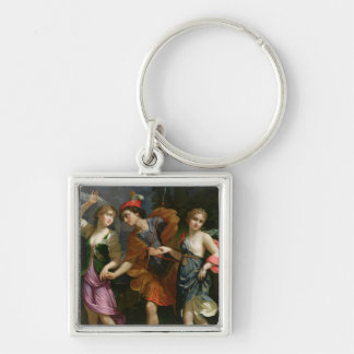 Theseus with Ariadne and Phaedra Silver-Colored Square Key Ring
