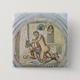 Theseus wrestling with the Minotaur 15 Cm Square Badge