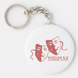 thespian salmon basic round button key ring
