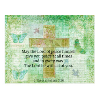 Thessalonians 3:16  Inspirational BIBLE quote Postcard