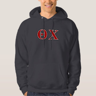 Theta Chi Red and Black Letters Hoodie