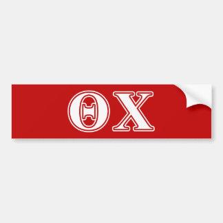 Theta Chi White and Red Letters Bumper Sticker