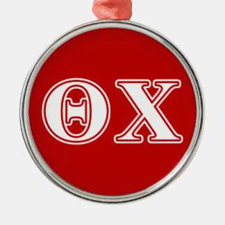 Theta Chi White and Red Letters Christmas Ornament