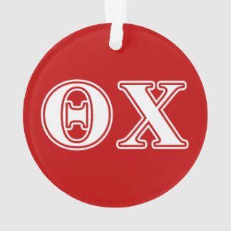 Theta Chi White and Red Letters Ornament