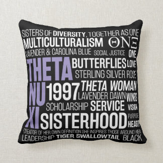 Theta Nu Xi Pillow in Black